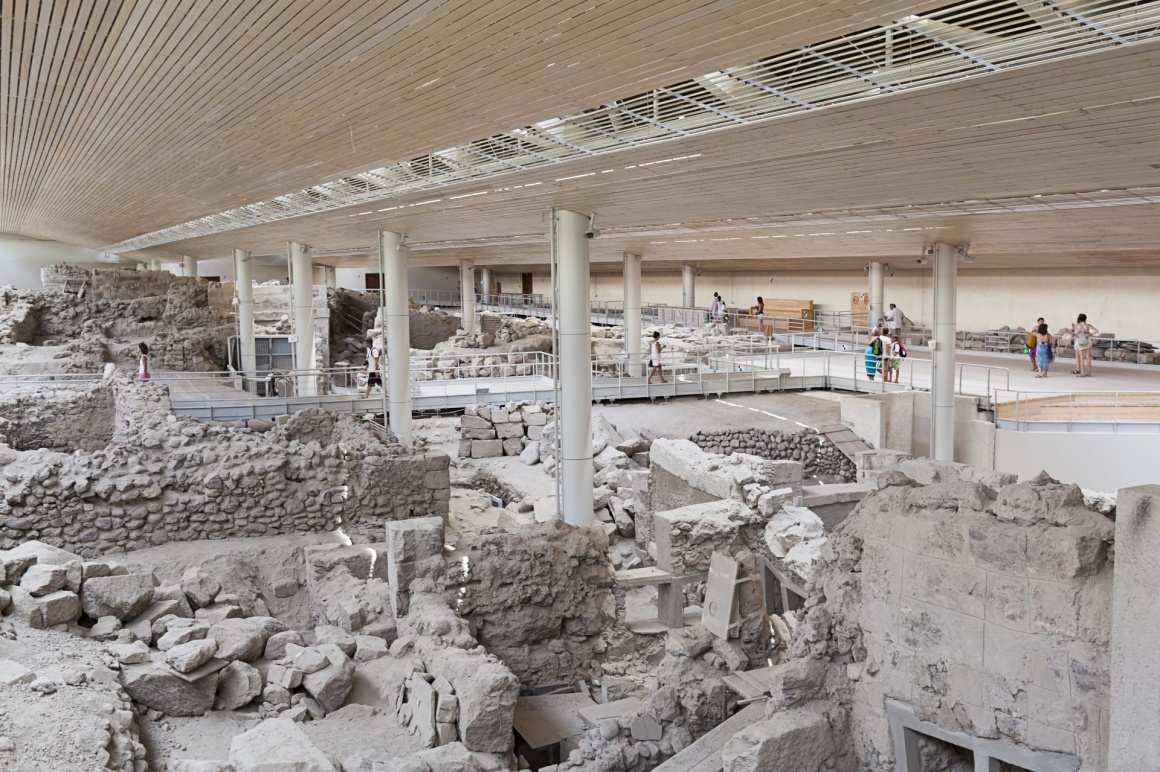 'Akrotiri,excavation site of a Minoan Bronze Age settlement on the Greek island of Santorini ' - Santorini