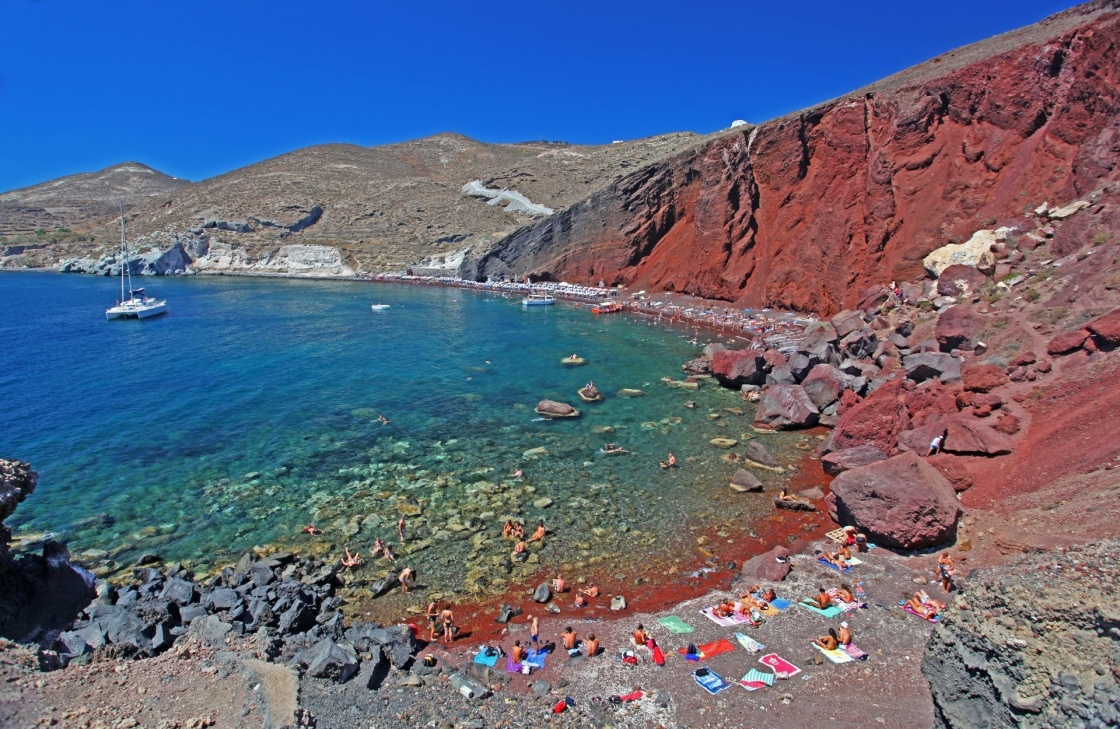 The Red Beach on the Greek Island of Santorini